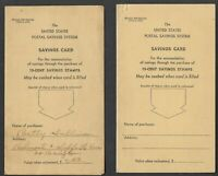 Two (2) Postal Savings Stamps Savings Cards from 1941