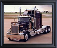 Black Kenworth Panelite Big Rig Truck Wall Art Decor Framed Picture (19x23)