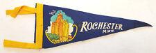 "Vtg ROCHESTER MINN Pennant-Mayo Clinic-Felt-11.5""-Triangle Flag Banner-Blue-Tie"