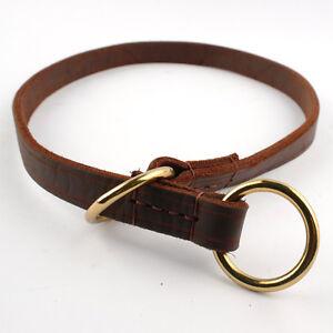Genuine Leather Slip Dog Collars for Large Dogs Choke Training Big Dog Collar