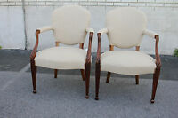 Fabulous Pair of English Regency Style Sheraton Armchairs, New Upholstery