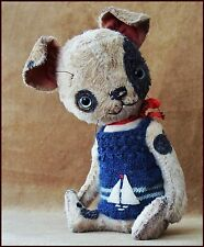 Alla Bears artist Old Antique Puppy sail boat art doll OOAK red pet decor toy