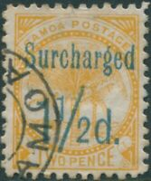 Samoa 1895 SG78 Surcharged 1½d. on 2d 0range-yellow Palm Tree FU