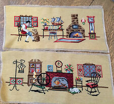 Finished Cross Stitch Set UnFramed Art HandMade 22 x 9 3/4 in fireplaces cat dog