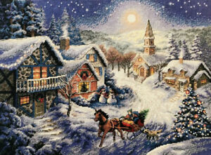 """DIMENSIONS GOLD COLLECTIONS""""SLEIGH RIDE""""  Kreuzstich-Stickpackung 8689"""