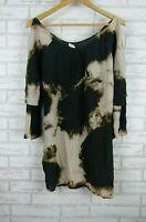 Witchery A-line dress Silk Black, brown, pink print Sz S, 10, 3/4 sleeves