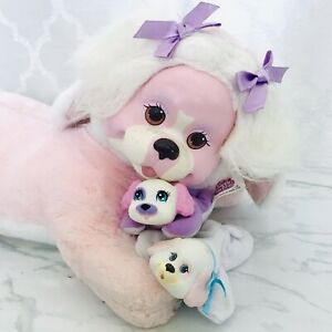 Vintage 1991 Hasbro Puppy Surprise Pink & White Plush Dog with 2 Baby Puppies