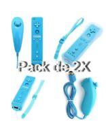 2X Manettes Wiimote Motion Plus + Nunchuk filaire Pour Wii & Wii U - Bleu