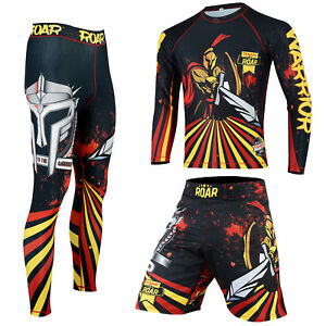 ROAR MMA Grappling Rash Guard UFC Cage Fight Training Leggings Jiu Jitsu Spats