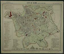 1883 LETTS MAP ~ città di Roma piano edifici pubblici ROVINE Chiese San Pietro