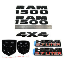 set OEM Dodge RAM 1500 4X4 Grille Tailgate 5.7 Liter HEMI Emblem Badge F Black