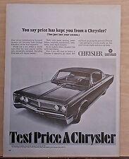 1967 magazine ad for Chrysler - Newport 2-door, Has Price Kept You from Chrysler