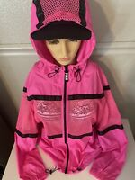 VICTORIA'S SECRET PINK Hot Pink Anorak  Jacket FULL ZIP HOODED M/LG New