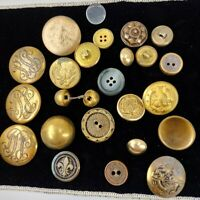 Lot 20+ Vintage Metal Buttons; Brassy Colors, Mixed Styles Some Military, Relief