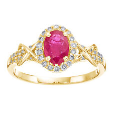 10K Yellow Gold 1/4 Ct Oval Ruby Diamond Halo Wedding Ring Size 5 to 9
