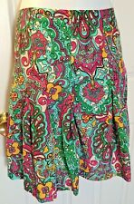 Women's LILLY PULITZER Paisley Pleated Skirt Bold Pink Turquoise Silk Blend Sz 4