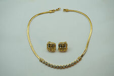SWAROVSKI NECKLACE AND EARRINGS CLIP ONS SIGNED SWAN MARK CRYSTAL RHINESTONES