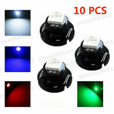 10x Green T4.7 T5 Neo Wedge LED Bulbs Dash Climate Control Instrument Base Light