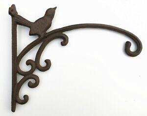 Large Cast Iron Ornate Bird Hanging Flower Basket Bracket Hook in 2 colours