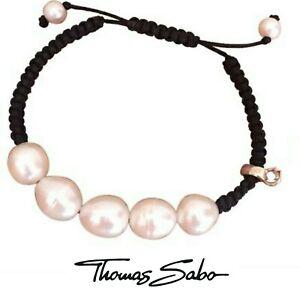 Genuine Thomas Sabo club 925 black cord pearl adjustable charm carrier bracelet