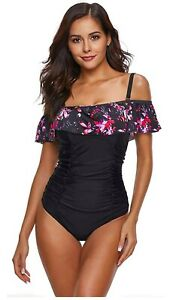 Swimming Costume for Women One Piece Off Shoulder Swimsuit Flounce Ruffled