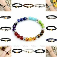 Fashion Black Agate Lava Rock Stone Gemstone Beads Bangle Bracelet Jewelry Gift