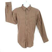 ARROW Shirt Casual Button Up Mens Sz L Brown Plaid Cotton Blend Long Sleeve NICE