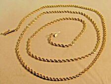 14K Solid Gold Schnitt Seil Halskette von Or. 22.5in. Lang Sale-Save #855