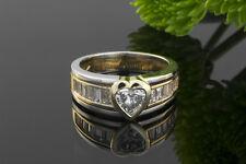 Schmuck Herz Ring Mit Diamant Im Herzschliff Baguette Diamanten 750 Gold Bicolor