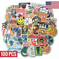 100 Vinyl Skateboard Stickers Bomb Laptop Luggage Car Skateboard Decals Pack Lot