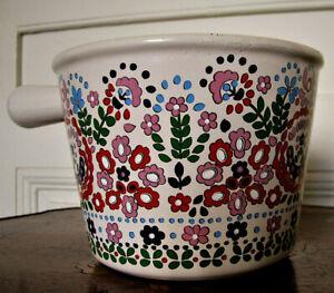 RARE Flower Pattern Vtg '70 MidCentury LE CREUSET Enameled Cast Iron Fondue Pot