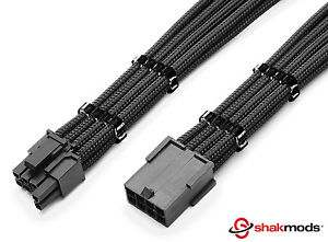8 pin to 6+2 pin Pcie Black Sleeved Extension 30cm + 2 Free cable Combs Shakmods