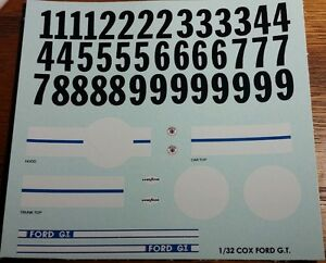 Repro 1/32 Cox Ford GT Decal Set