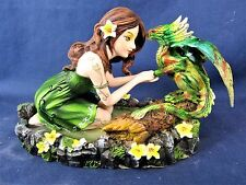 Woodland Girl Watering a Small Green Dragon Fantasy Mythical