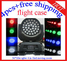 36*10W Led Moving Head Zoom RGBW Stage Light Flight Case 4pcs Free Shipping