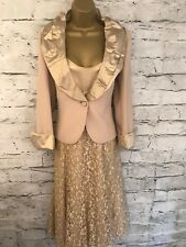 Presen Ladies Gold Lace Dress & Jacket Suit Wedding UK 14 EU 42 US 8