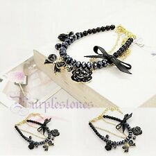Lady Girl Rose Flower Bowknot Chain Crystal Camellia Pearl Bangle Bracelet Chain