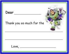Buzz LY FILL IN ~ Kids Custom Thank You or Note Cards