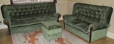 Green Fabric and Wooden Sofa Set | 2 and 3 Seater 1 matching Pedestal Vintage 80
