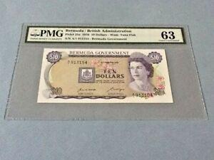 Bermuda 10 Dollars P-25a 1970  PMG 63