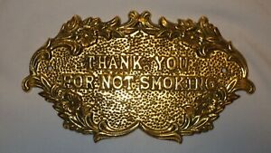 Ornate Brass THANK YOU FOR NOT SMOKING Wall Mount Sign Plaque