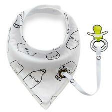 Baby Infant Toddler Cotton Bandana Bibs Triangle Bibs Saliva Towel Pacifier Clip