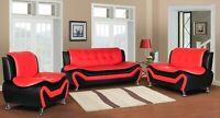 Wanda Red Black Bonded Leather living room 3PC 2PC Sofa set Loveseat Chair