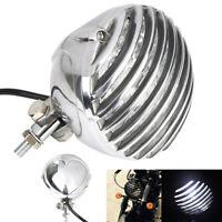 Silber Retro Motorrad LED Hauptscheinwerfer Lampe für Harley Racer Bobber Honda