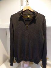 EDDIE BAUER Mens Zip Neck Jumper Sweater M graphite grey  Cotton
