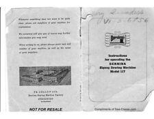Bernina 117 Zigzag Sewing Machine Owners Instruction Manual
