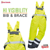 High Visibility Hi Vis Safety Bib & Brace Waterproof Trousers Boiler Suit S488