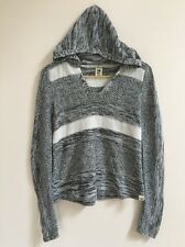 Women's Roxy Black White Hooded Knit Sweater S Striped Heathered