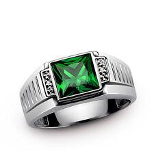 Solid 10K White Gold Mens Modern Gemstone Diamond Engagement Band Wedding Ring