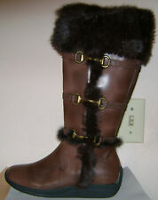 New Noel Boho Brown Fur Accent Toggle Strap Zip Up Flat Winter Boots 6